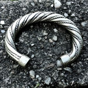 Antique Heavy Rope Silver Cuff Bracelet